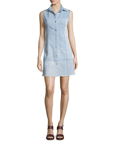 Effie Sleeveless Button-Front Shirtdress, Polished Stone