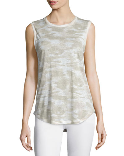 Ashton Jewel-Neck Linen Muscle Tee, Urbano Warp