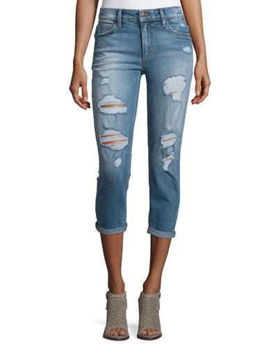 Billie Distressed Cropped Jeans, Bijou