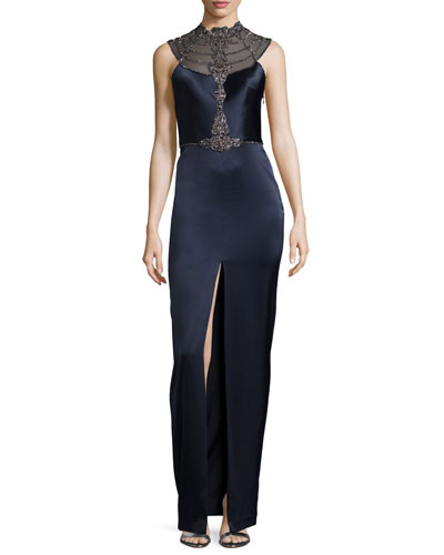 Filia Sleeveless Beaded Sheer-Back Column Gown