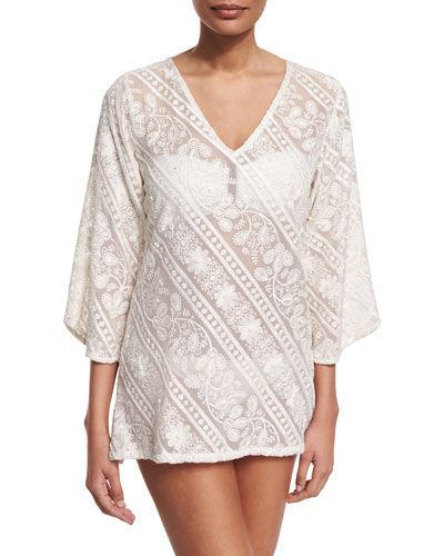 Mystique Embroidered Tunic Coverup