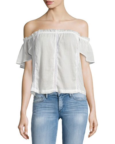Lucille Off-The-Shoulder Blouse, White