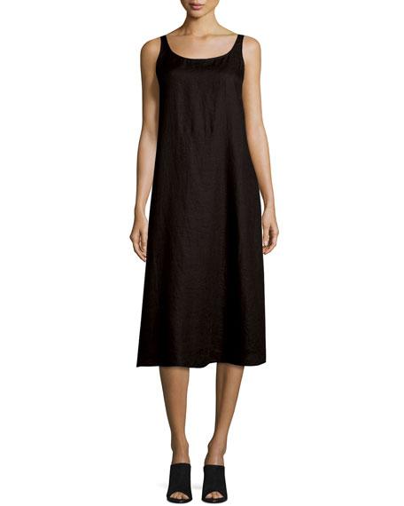 Eileen Fisher Sleeveless Linen Scoop Neck Tank Dress Black Plus Size