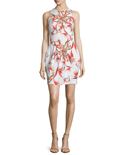 Sleeveless Bird-Of-Paradise Sheath Dress, White/Multi
