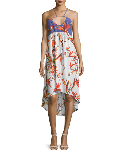 Sleeveless Bird of Paradise High-Low Dress