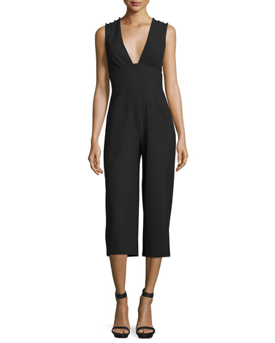 Sleeveless Plunging V-Neck Midi Jumpsuit, Black