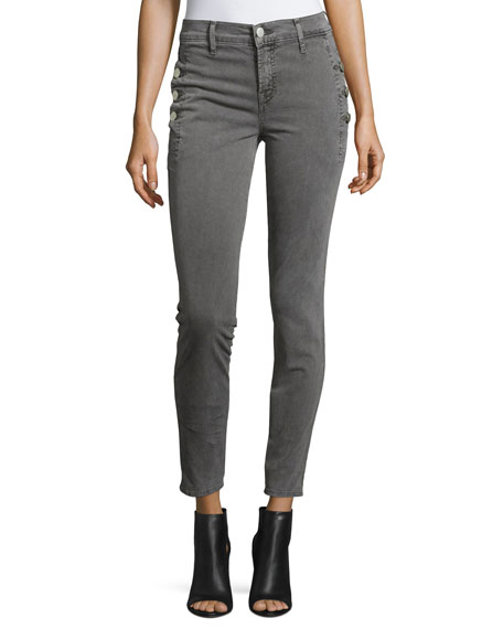 J Brand Zion Mid-Rise Skinny Ankle Jeans w/ Button Detail, Distressed Silver