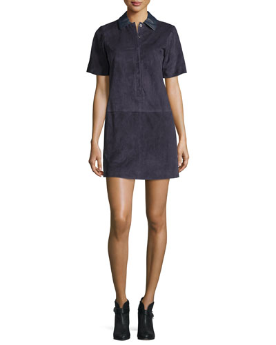 Alix Paneled Suede Shift Dress, Navy