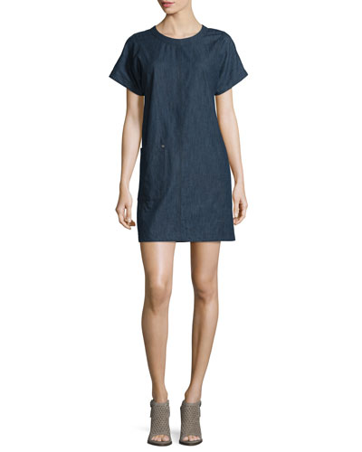 Ryder Short-Sleeve Chambray Shift Dress, Indigo