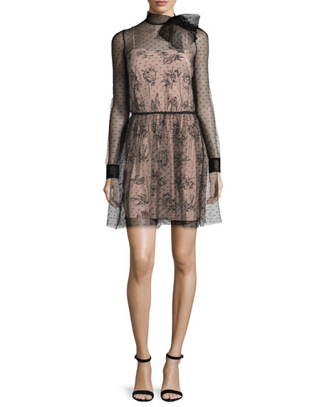 fb31df5033c RED Valentino Long-Sleeve Swiss Dot Tie-Neck Dress