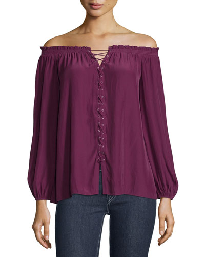 Jackie Off-The-Shoulder Lace-Up Top, Sangria