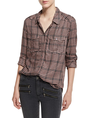 Mya Buffalo-Check Shirt, Black/Adobe Rose