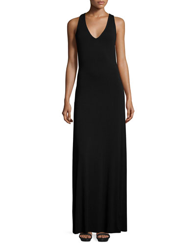 Alva Cross-Back Maxi Dress, Black