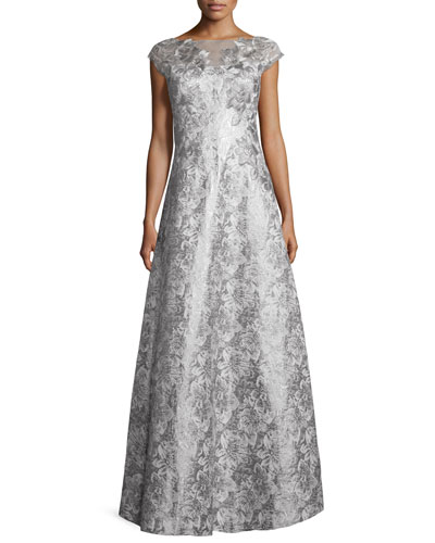 Cap-Sleeve Floral Metallic Ball Gown, Silver