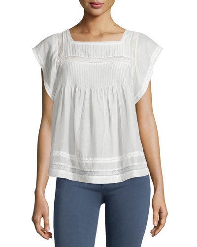 Marleno Short-Sleeve Lace-Inset Top