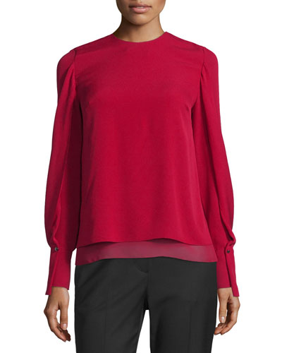 Long-Sleeve Tiered Silk Blouse, Ruby