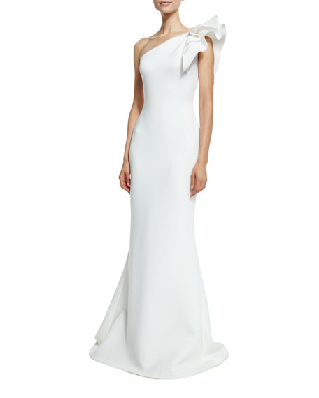 16cd95987372 Jovani One-Shoulder Ruffle-Trim Mermaid Gown