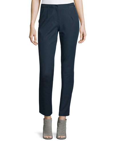 Stanton Ribbon-Trimmed Tapered Ankle Pants, Ink