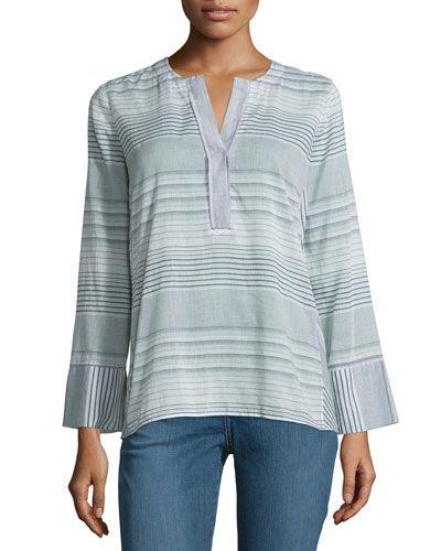 Long-Sleeve Split-Neck Striped Tunic, Champion Navy, Plus Size