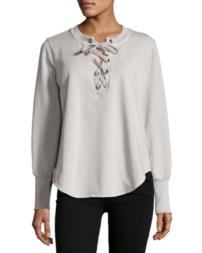 Noelle Lace-Up Sweater, Taupe
