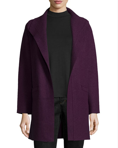 Boiled Wool Funnel-Neck Coat, Deep Raisin