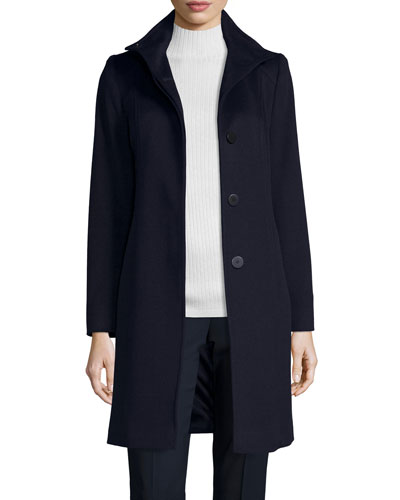 Funnel-Neck Wool Button-Front Coat, Midnight