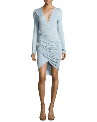 Lex Jersey Surplice Ruched Dress, Light Blue