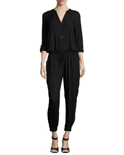 Sola Long-Sleeve Jersey Jumpsuit, Caviar