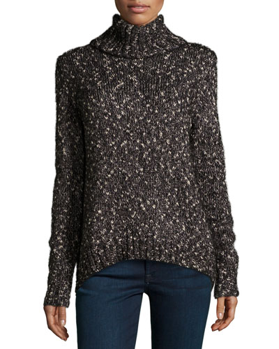 Farika Turtleneck Sweater, Heather Caviar