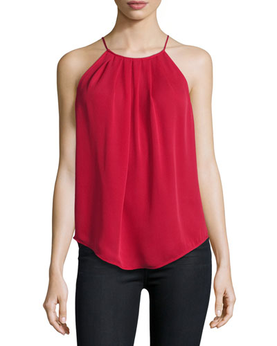 Amarey Silk Tank Top, Ruby