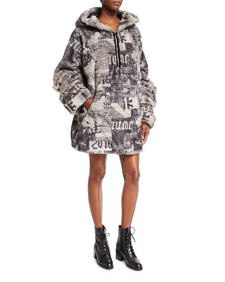 detailed look b6664 b3848 Hooded Oversized Faux-Fur Jacket Gray