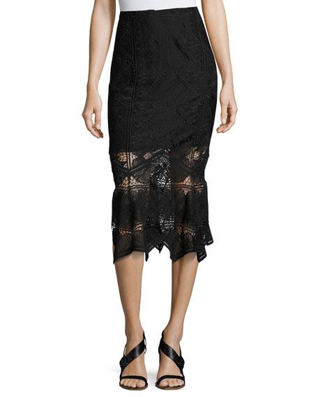 jonathan simkhai lace midi pencil skirt black