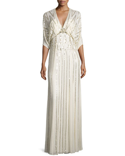 Sequin-Embroidered Batwing Gown, White Metallic