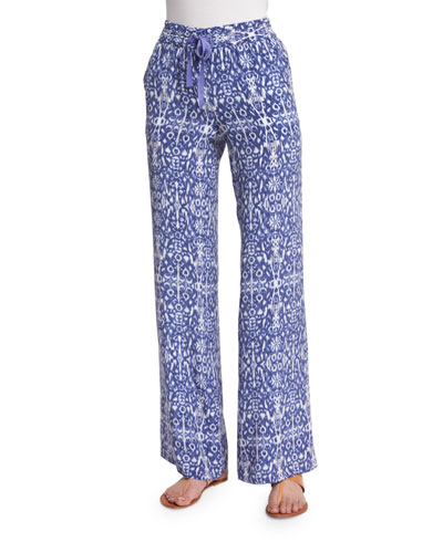 Aryn Printed Wide-Leg Silk Pants
