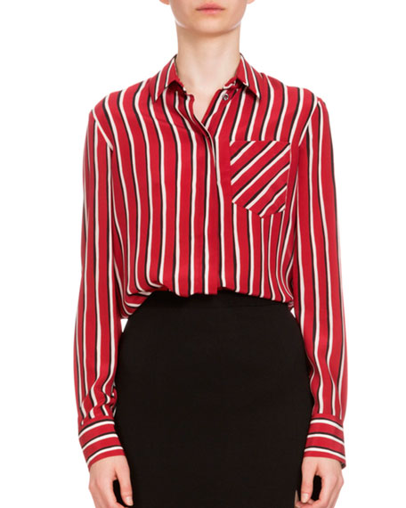 Favorite Altuzarra Long-Sleeve Striped Silk Blouse, Black/Red/White OF97