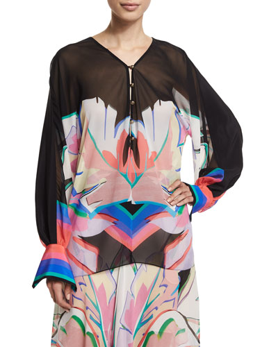 Long-Sleeve V-Neck Printed Blouse, Black/Pink/Bright Coral/Blue
