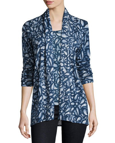 Superfine Paisley-Print Cashmere Open Cardigan