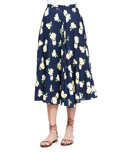 Camellia-Print Ruffled Circle Skirt, Indigo/White/Yellow