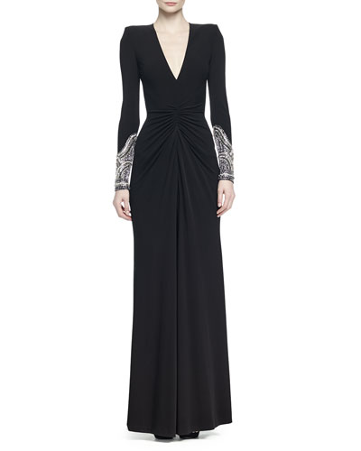 Crystal-Embellished Ruched Gown