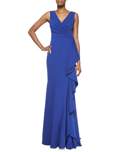 Faux-Wrap Ruffle-Front Gown, Electric Blue