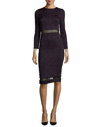 Narin Floral-Jacquard Sheath Dress, Black/Purple