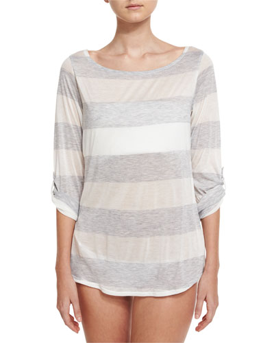 Homespun Striped Scoop-Back Coverup Tunic