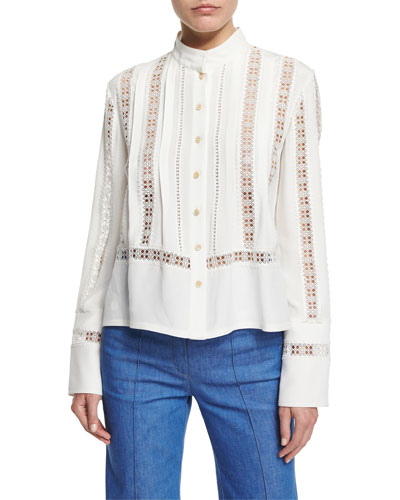Long-Sleeve Open-Stitch Silk Crepe Blouse, White