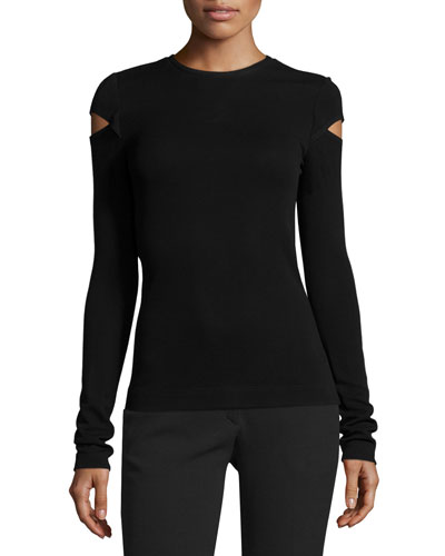 Knit Slash-Sleeve Top, Black