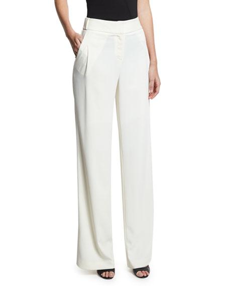 Halston Heritage Flowy Wide-Leg Pants, White