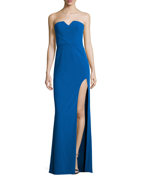 f7e89a88167b Halston Heritage Strapless Stretch Crepe Column Gown, Lapis