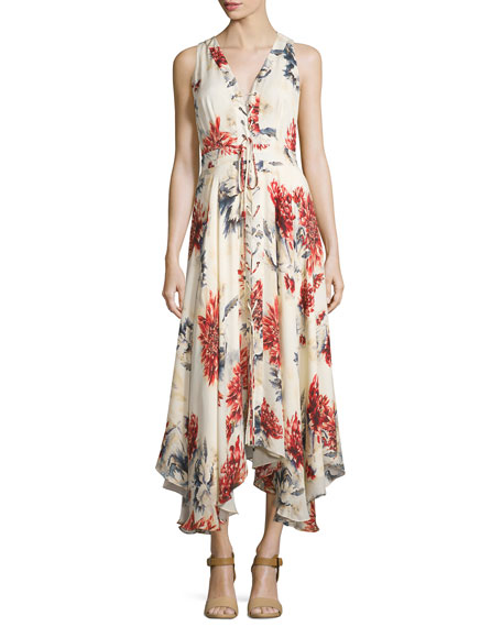 d2afd166e2b8 Haute Hippie Sleeveless Lace-Up Floral Silk Midi Dress, Lincoln