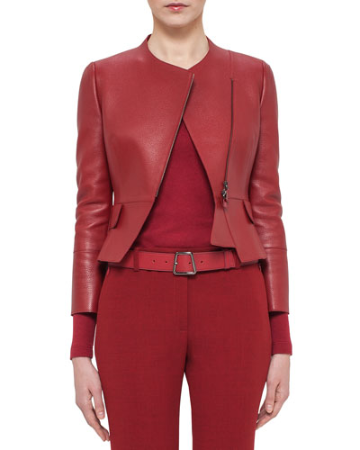 Asymmetric Cropped Leather Jacket, Miracle Berry