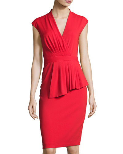 Cap-Sleeve Knit Peplum Dress, Red