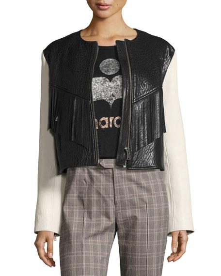 Etoile Isabel MarantKirk Two Tone Fringed Leather Jacket, White